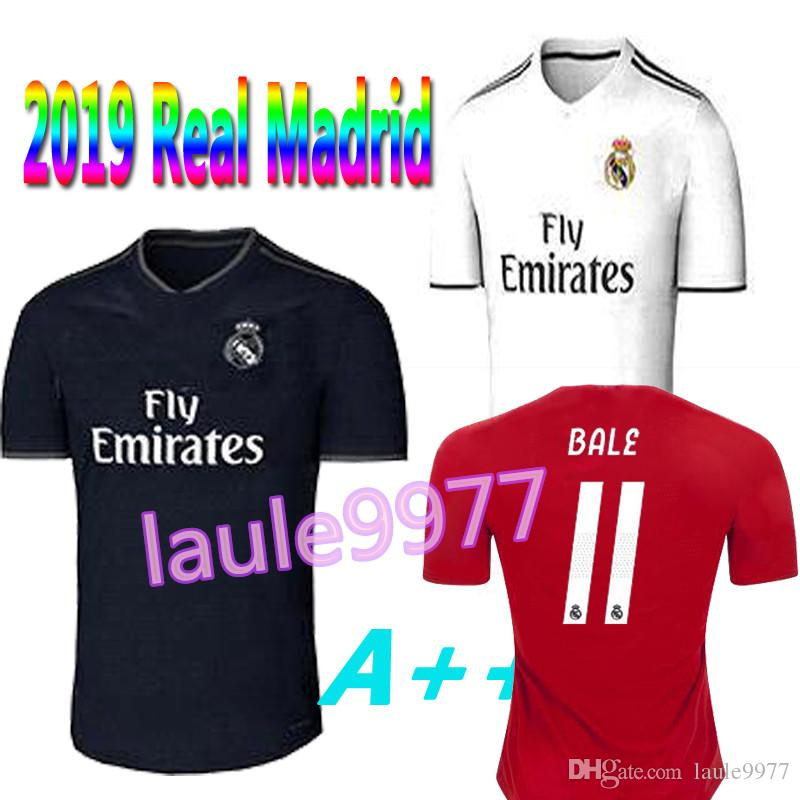 Top Thai Jersey 2018 2019 Real Madrid Home Away Soccer Jerseys 18 19 HAZARD  ASENSIO BALE RAMOS ISCO MODRIC Football Shirt Thailand Quality UK 2019 From  ... 5cefe7ce9