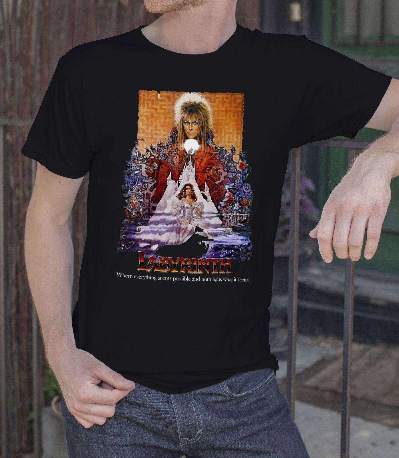 52ca1620eb7 David Bowie T-shirt Rock Tee Shirt Labyrinth Movie MENS T-SHIRT Tee ...
