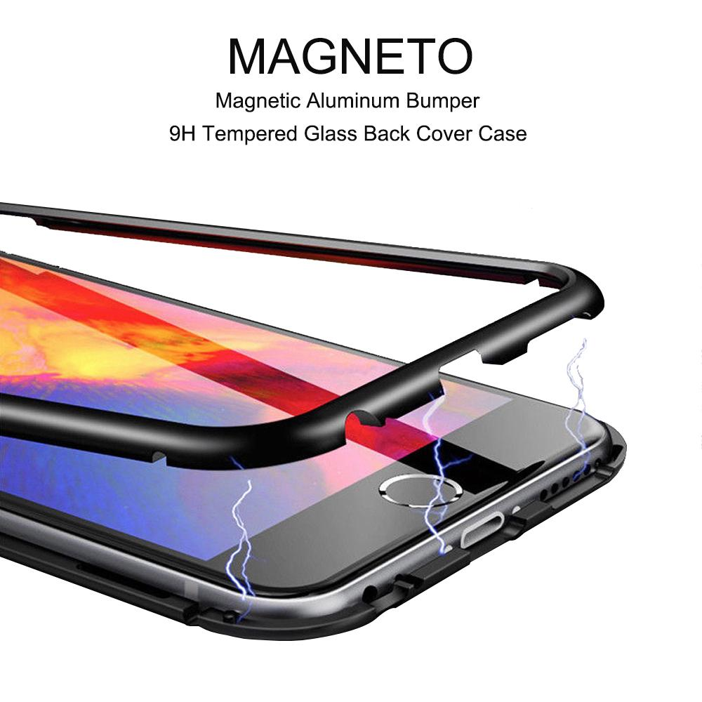 meet ff941 ecbe3 360 Degree Magnetic Adsorption Metal Bumper Tempered Glass Clear Shockproof  Full Cover Case For iPhone X 7 8 Plus