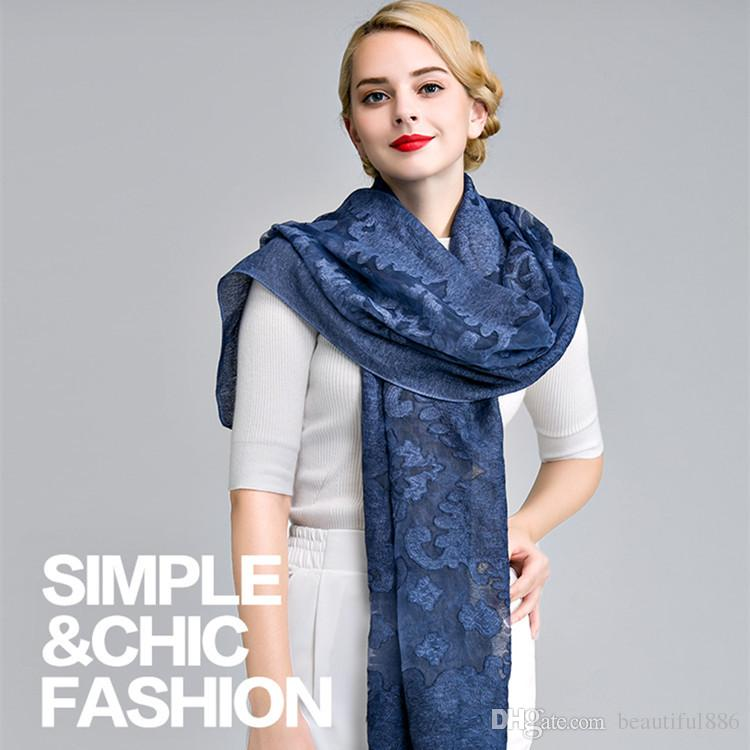 Women scarf 2018 female autumn spring fashion style bohemian sweet long hollow solid scarves muffler lace cut silk cotton scarf