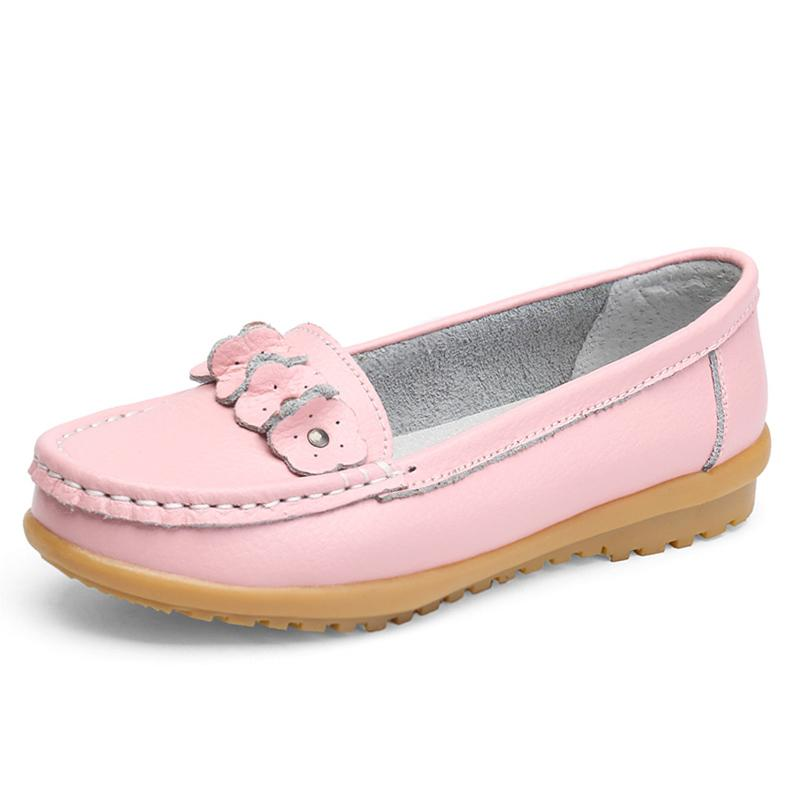 bcf5c27f9 Women Flats 2017 New Leather Mother White Nurse Shoe Peas Work Flat Shoes  Comfortable Women's Shoes Loafers Non Slip Home