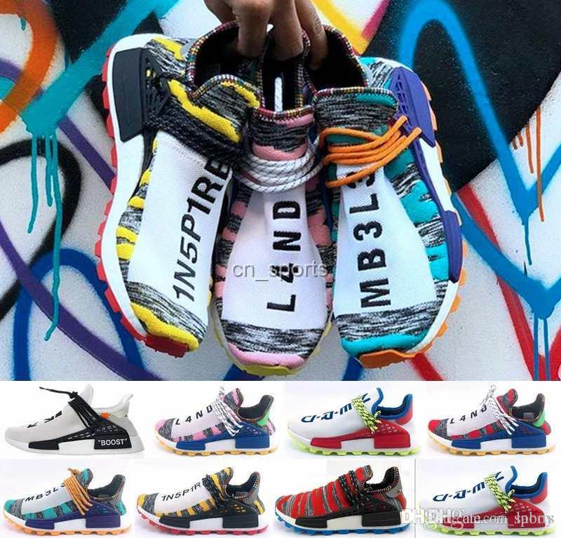 online retailer 0093d fe792 Fashion Human Race Creme x NERD Solar PacK Running Shoes Pharrell Williams  Afro Hu Trail Equality Women Mens Trainers Designer Sneakers