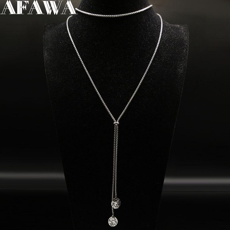 2018 Fashion Flower of Life Stainless Steel Necklace for Women Silver Color Necklaces & Pendants Jewellery bisuteria N186701