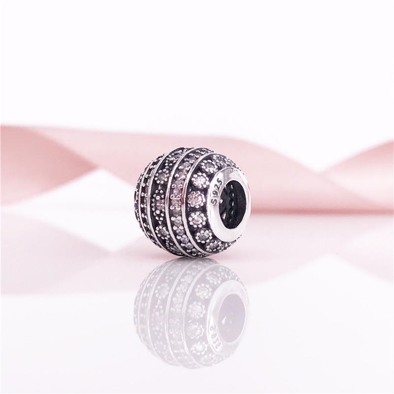 2017 Осень подлинный S925 стерлингового Silve сверкающие формы Шарм Fit Европейский Пандора цепи браслет ожерелье ювелирные изделия 796243CZ Шарм