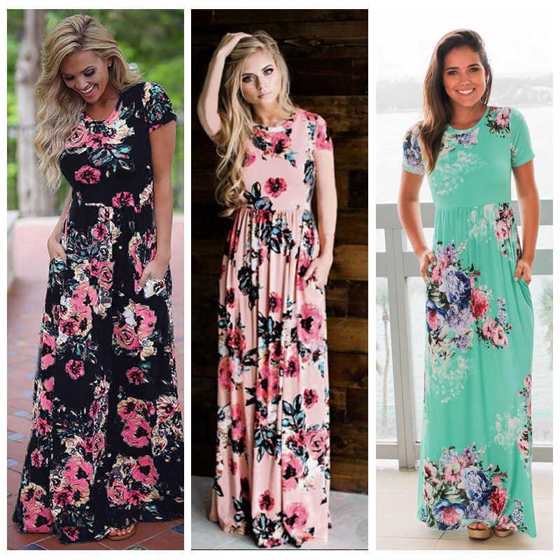 3b8ecef0a5 Women Floral Print Short Sleeve Boho Dress Evening Gown Party Long Maxi  Dress Summer Sundress Short Cocktail Party Dresses Blue Dresses Juniors  From ...