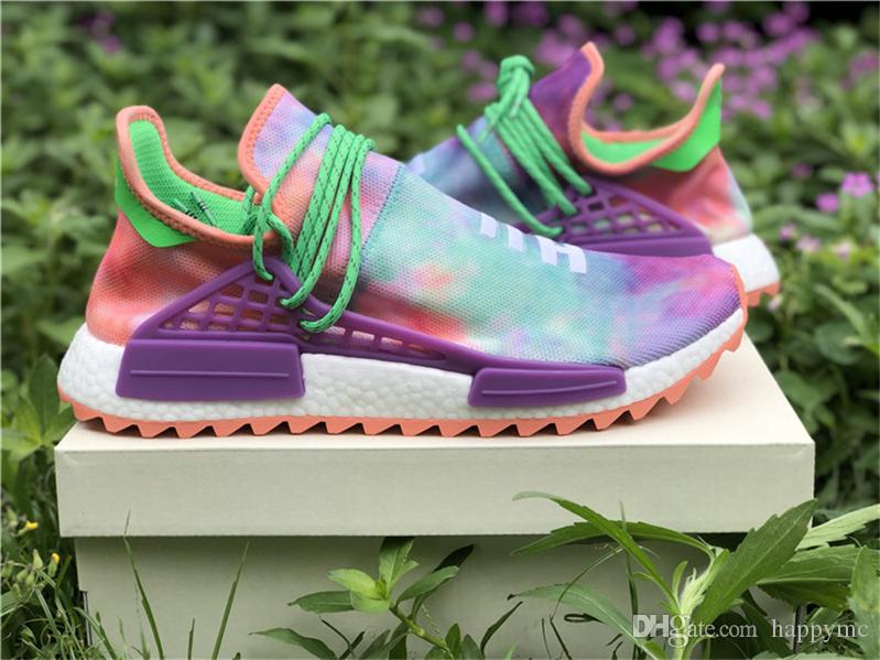 10de3130f 2019 2018 Pharrell Williams X NMD Hu Trail Holi Chalk Coral Human Race  Running Shoes Sports Sneakers Authentic Athletic With Box AC7034 Limited  From Happymc ...