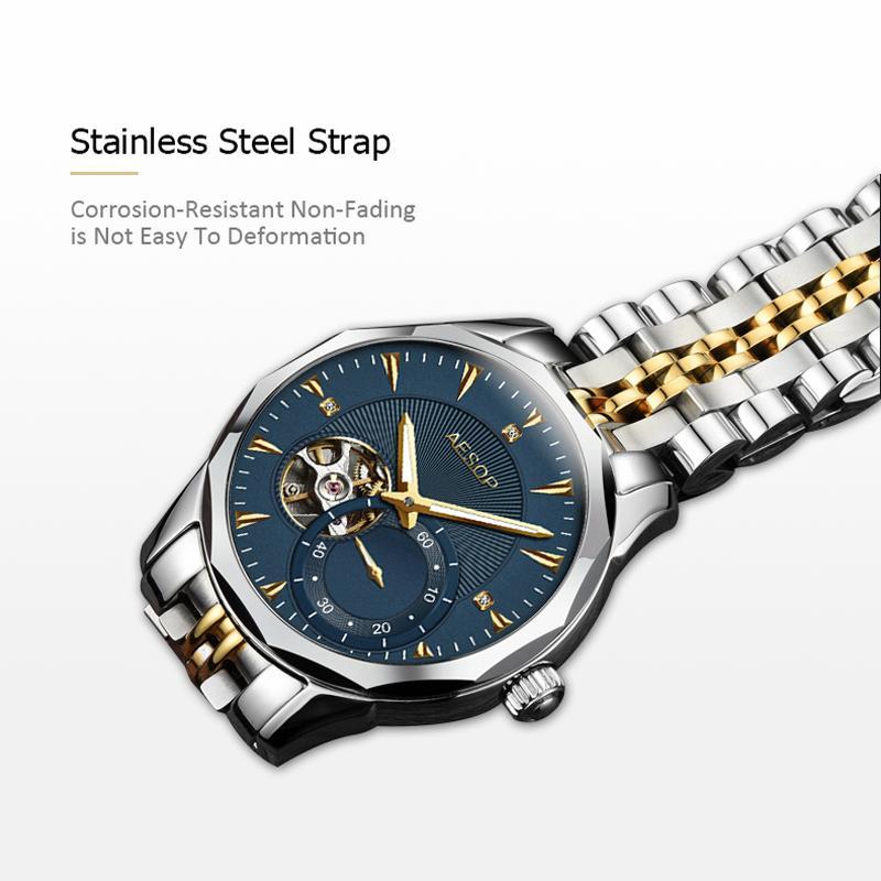 AESOP Blue Men Watch Men Automatic Mechanical Sapphire Crystal Wrist  Wristwatch Male Clock Relogio Masculino Hodinky Fashion 46 Skeleton Watch  Watches Of ... 0fd8de58457