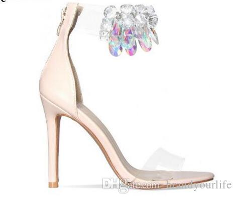 Sandali con tacco alto in pelle oro rosa Sandali con diamanti in PVC trasparente Cinturini alla caviglia donna Scarpe con tacchi in cristallo trasparente con tacco a spillo