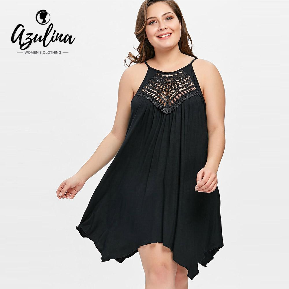 34da2c9f622 2019 Azulina Plus Size Cutwork Handkerchief Tze Slip Dress Women Casual  Spaghetti Strap Lace Black 2018