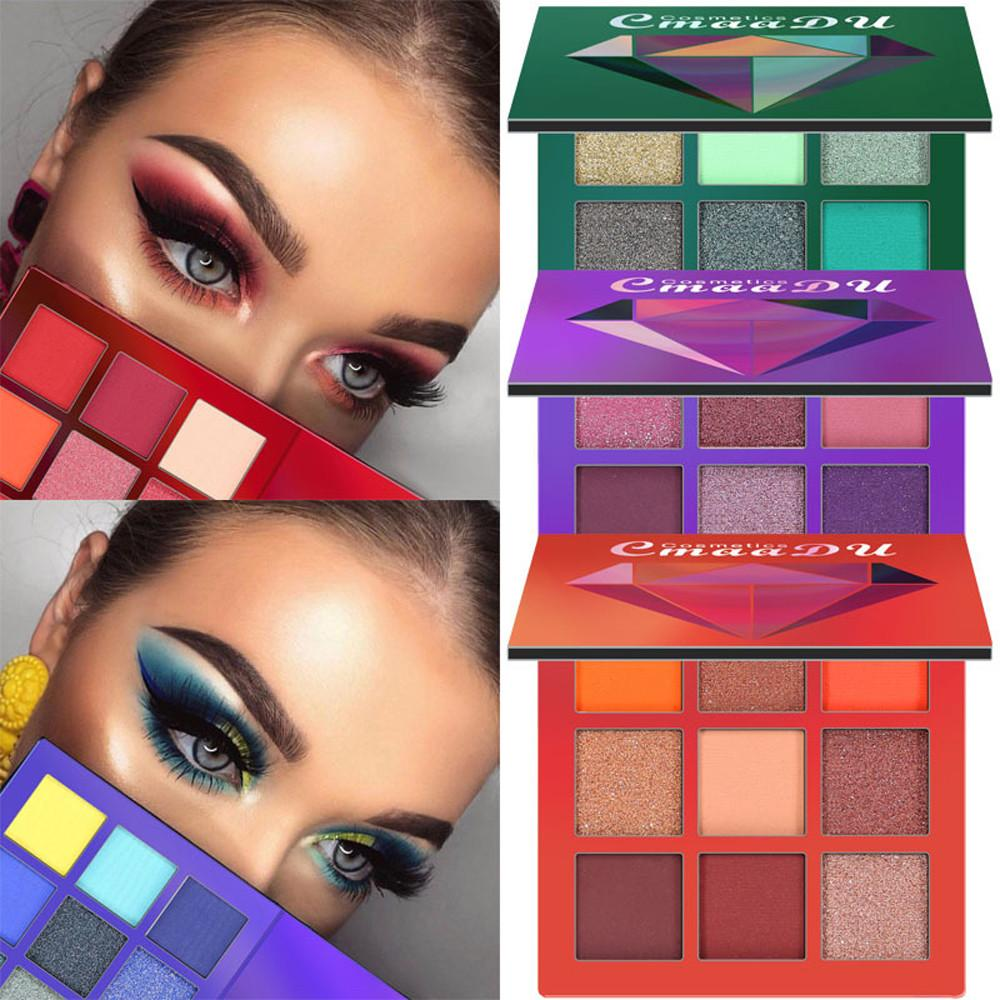 New Cosmetic Fashion Matte Eyeshadow Cream  Party Palette Shimmer Set 9 Colors Eyeshadow 2018
