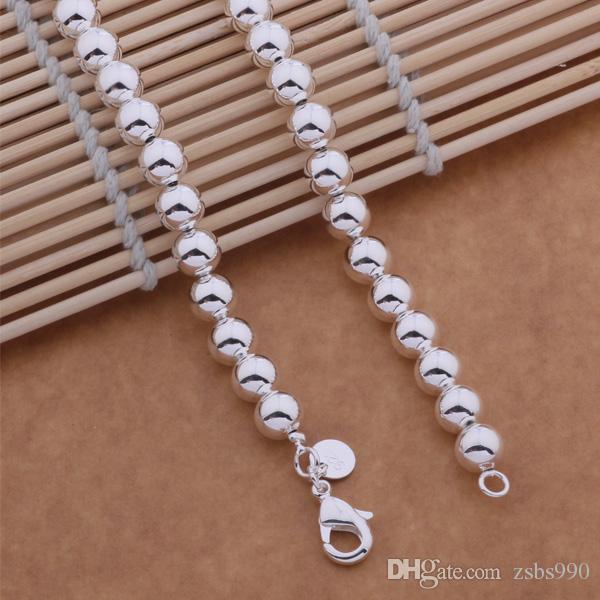 925 sterling silver 6 MM colar de corrente do grânulo pulseira do parafuso prisioneiro brincos Conjunto de Jóias de Moda Frete Grátis / lote
