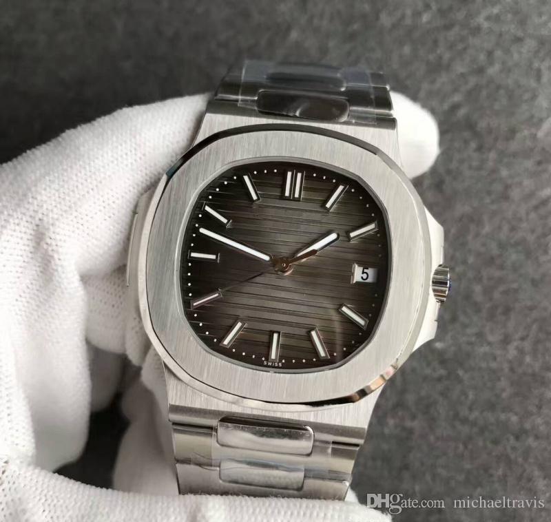 2018 N ew Luxury Mens Watch Nautilus moon Automatico Meccanico in acciaio inossidabile trasparente posteriore quadrante grigio Orologi da uomo