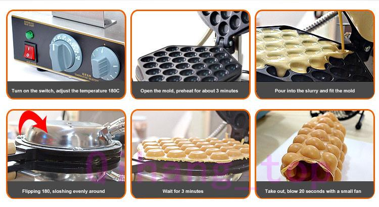 Profesyonel Ticari Elektrikli yumurta kabarcık waffle makinesi makinesi eggettes puf kek makinesi makinesi kabarcık yumurta kek makinesi