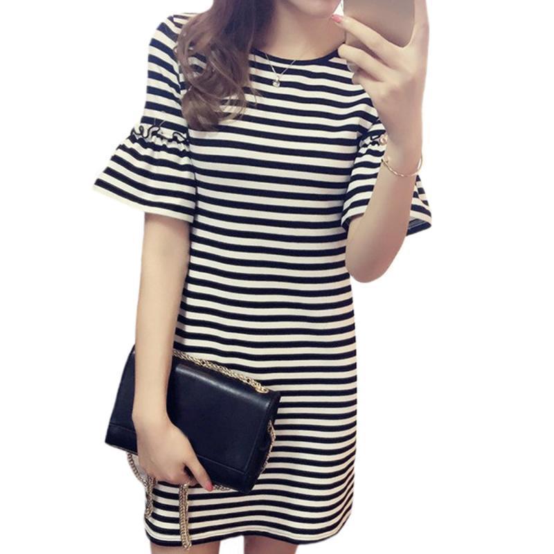d1396a916fb0 Summer Long Slim Black And White Striped Dress O Neck Collar Knit Dress  Loose Horn Cuffs Short Sleeve Plus Size Dress Women Silk Dresses Black  Evening ...
