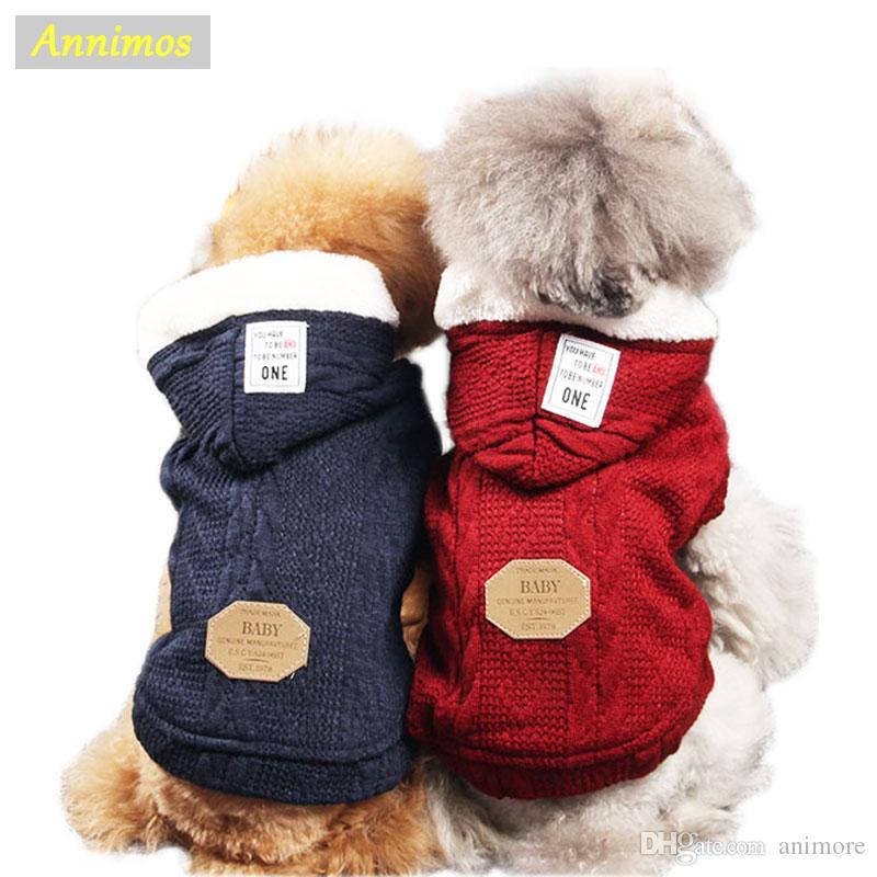 2018 más nuevo invierno caliente Hotsale la chaqueta con capucha para mascotas perros ropa de invierno suéter de la capa para Puppy ropa Two Legs ropa de lana