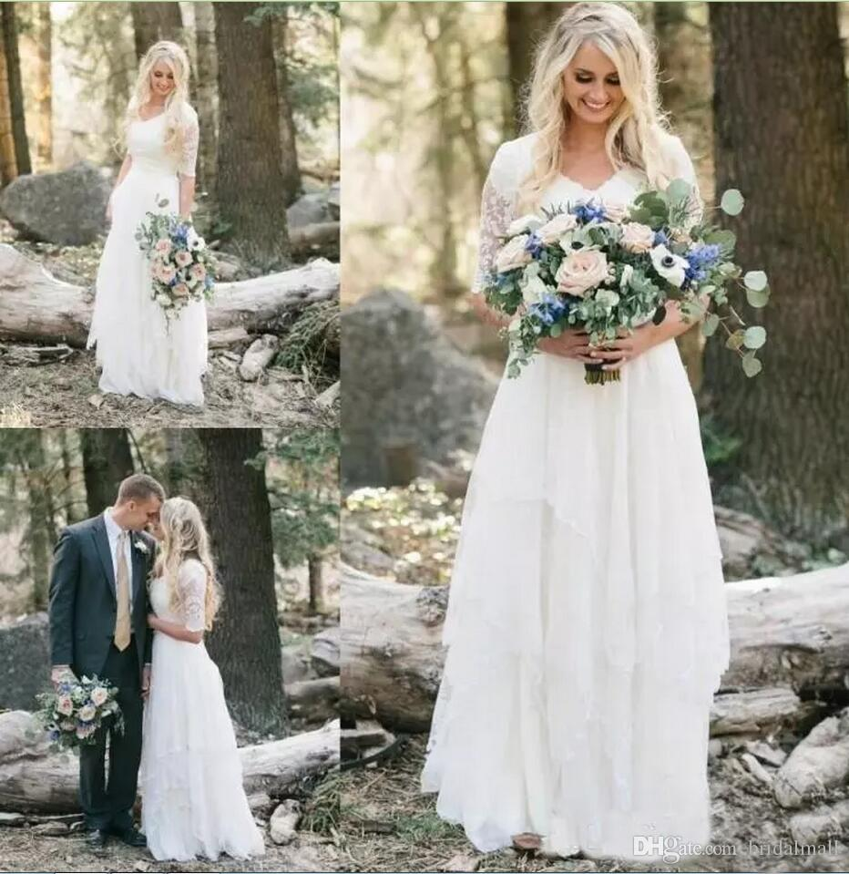 Discount 2018 Western Country Bohemian Forest Wedding Dresses Lace ...