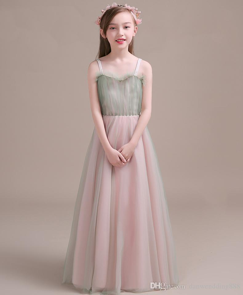 Two-Tone Sage/Pink Tulle Straps Flower Girl Dresses Princess Dresses Girl's Pageant Dresses Custom Made Size 2-6 8 10 12 14 KF402309