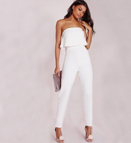 New Women Jumpsuit White Slim Ruffles Slash Neck Rompers Elegant ... c24f14955512