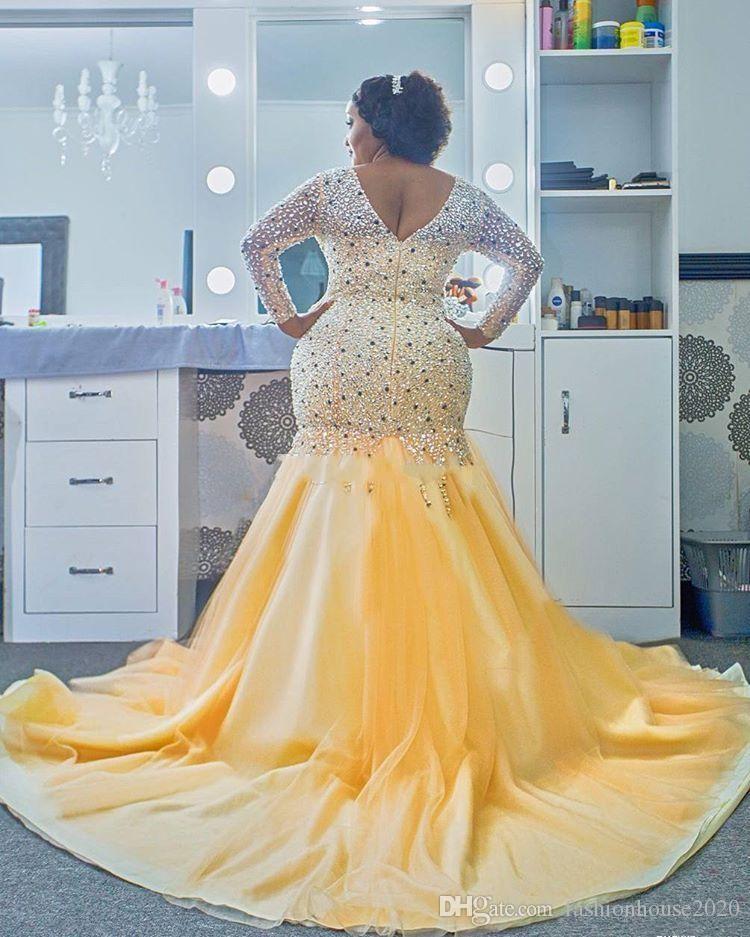 2018 tallas grandes sirena vestidos de fiesta africanos con cuello en v abalorios mangas largas sin respaldo tren de barrido vestidos de noche personalizados fiesta desfile