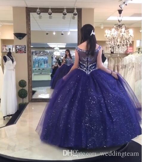 Sparkly Navy Blue Perlen Ballkleid Quinceanera Kleider Kristalle Sheer Bateau Neck Pailletten Abendkleider Tüll Strass Sweet 16 Kleid