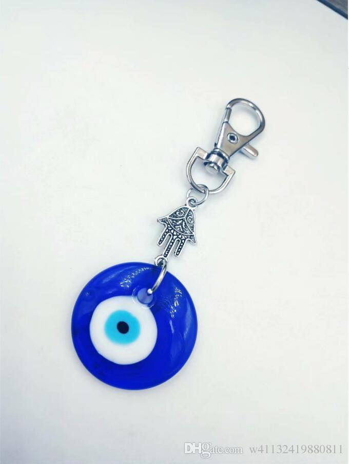 Hamsa Hand Antique Silver Keychain Jewish Symbols, Kabbalah&Glass Evil Eye For Keys Car Bag Charm Key Ring Handbag Couple Key Chains-16