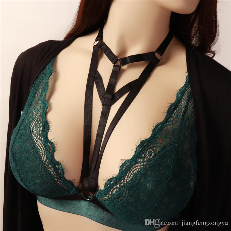 655b67dc74 2019 Fashion Black Bondage Harness Cage Bra Adjust Elastic Strap Tops Open  Chest Bra Sexy Punk Goth Lingerie Halloween Wear Wife Gift From  Jiangfengzongya