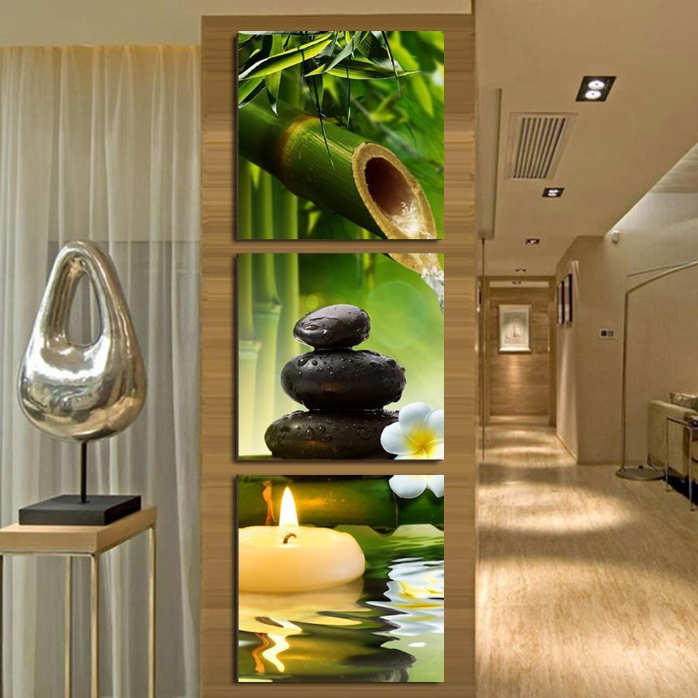 2019 Green Bamboo Stone Spa HD Printings Paintings Wall Art Home ...