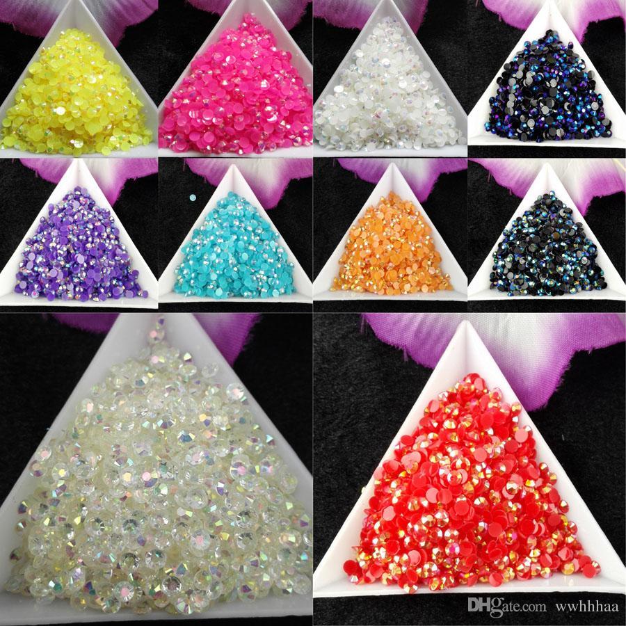 /bag SS12 3mm Jelly AB Resin Crystal Rhinestones FlatBack Super Glitter Nail Art Strass Wedding Decoration Beads Non HotFix