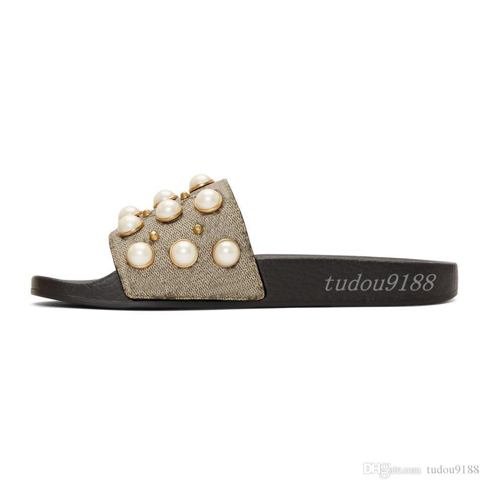 456b155a566eb Mens And Womens Fashion Beige Pearls Embellished Slides Sandals ...