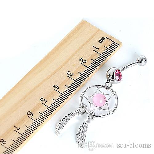 3 couleurs cristal bijou rêveur catcher chaîne de plumes nombril balancent ventre barbe bouton barre anneau Body Art Bar G92L