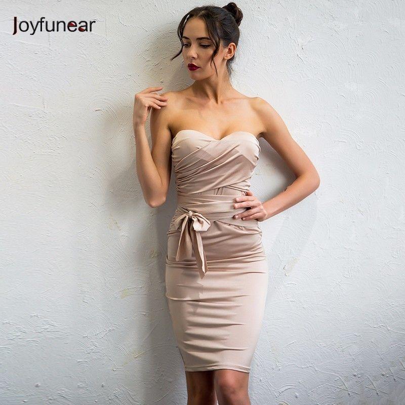06abf4adca4 20187 Joyfunear 2017 Sexy Club Bandage Dress Women Strapless Khaki Dresses  Knee Length Tight Fitted Slim Bodycon Fashion Stylevestidos Light Purple  Dresses ...