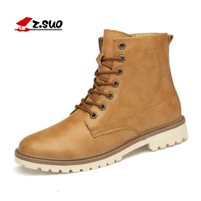 428e156ca645 Acheter ZSUO Hommes D'hiver En Cuir Cheville Bottes Grande Taille 39 47  Chaud En Plein Air Sécurité Travail Sonw Chaussures Mâle De Mode À Lacets  En ...