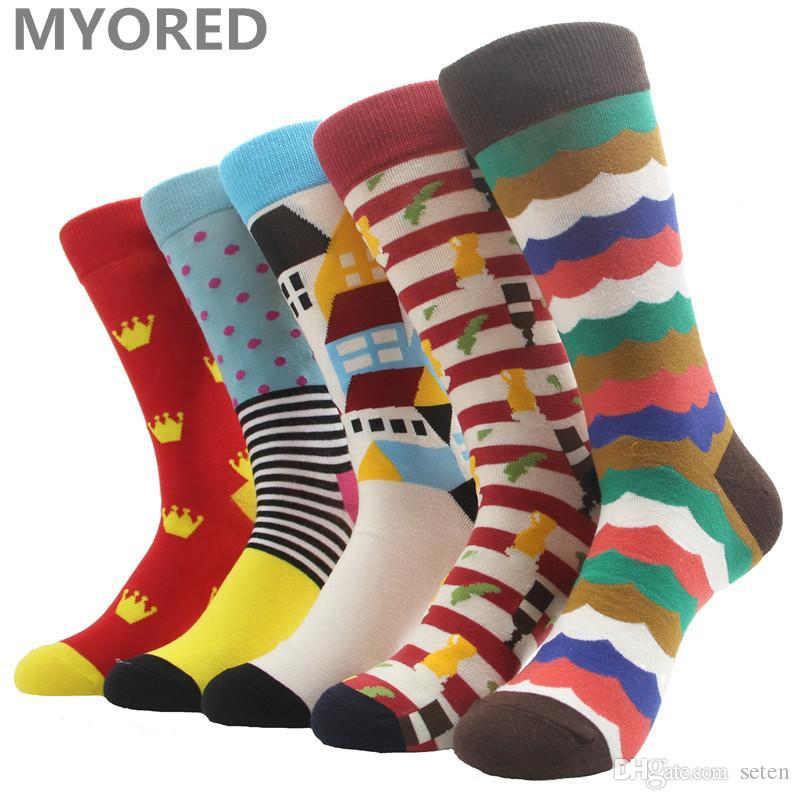 39a6ba83e36d6 2019 Wholesale MYORED Fashion Colorful Socks Men Hit Color Argyle Stripes  Big Dot Jacquard Filled Optic Combed Cotton Male Sock Wedding Gift From  Seten, ...