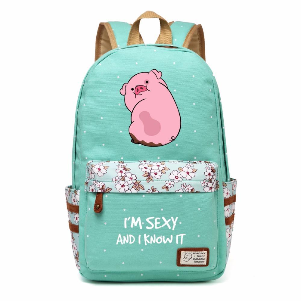 b15305b4a9 Wishot Gravity Falls Waddles Canvas Bag Flower Wave Point Rucksacks Backpack  Girls Women School Bags Travel Shoulder Bag Bags For School School Backpack  ...