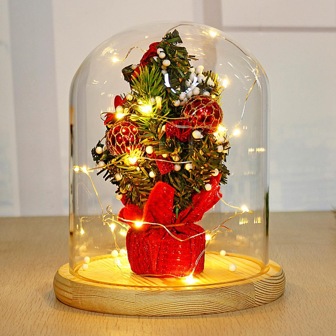 led christmas decoration tree glass dome bell jar with fairy led night lights string light christmas party holiday home decor led globe string lights string