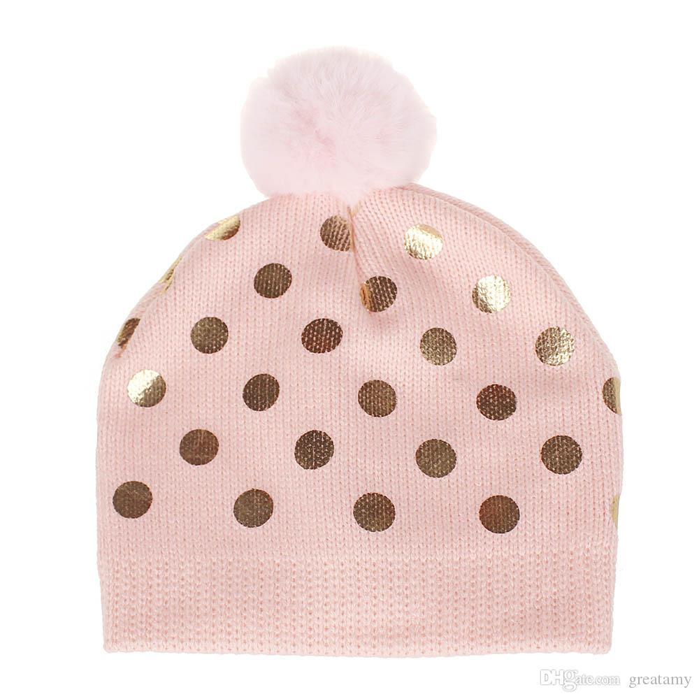 c5dbaafe6fc 2019 New Cotton Children S Dotted Wool Knit Hair Ball Cap Baby Boys Girls  Cap Fashion Sequin Hat From Greatamy