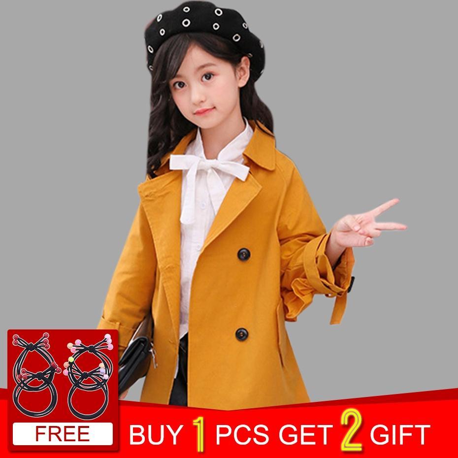 0d9a342e7889 Girls Coat Autumn Jacket For Girls Solid Trench Elegant Children S ...