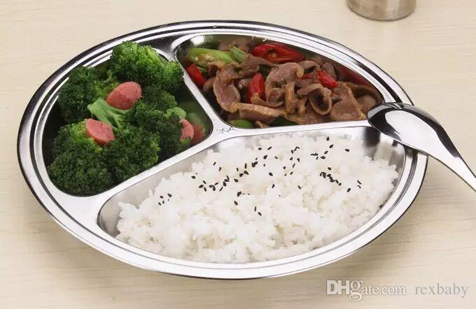 25.5CM Acciaio inossidabile Vassoio Fast Food Ristorante Servizio alberghiero Vassoio 3-Griglia Round Snack Vassoio Cucina Mensa Tavolo da pranzo