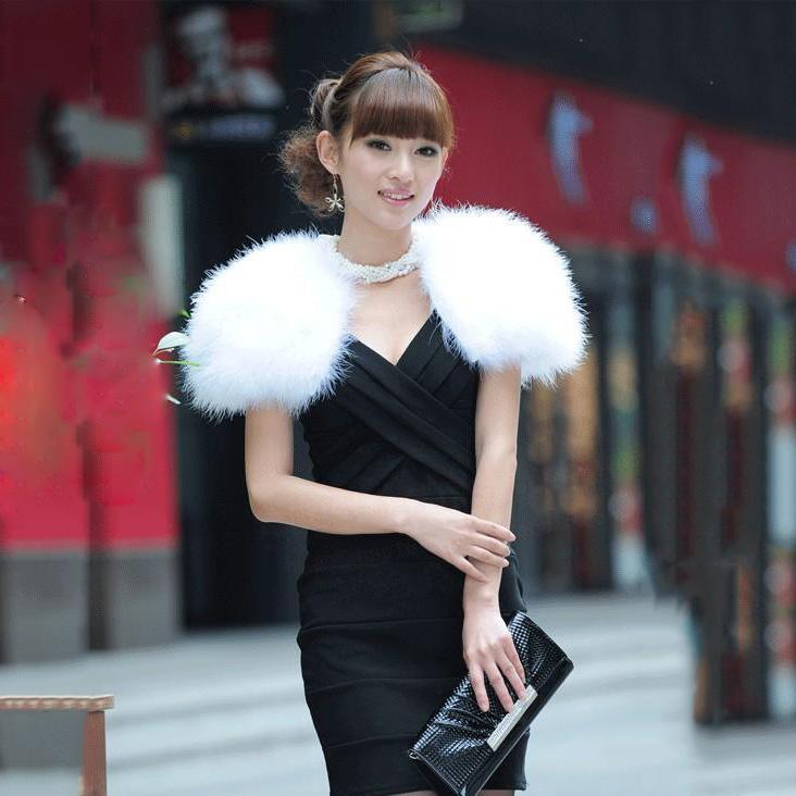 women's Wedding WHITE shawl dress formal bride wedding cape100% genuine turkey ostrich fur luxury fashion fur shawl fur cape