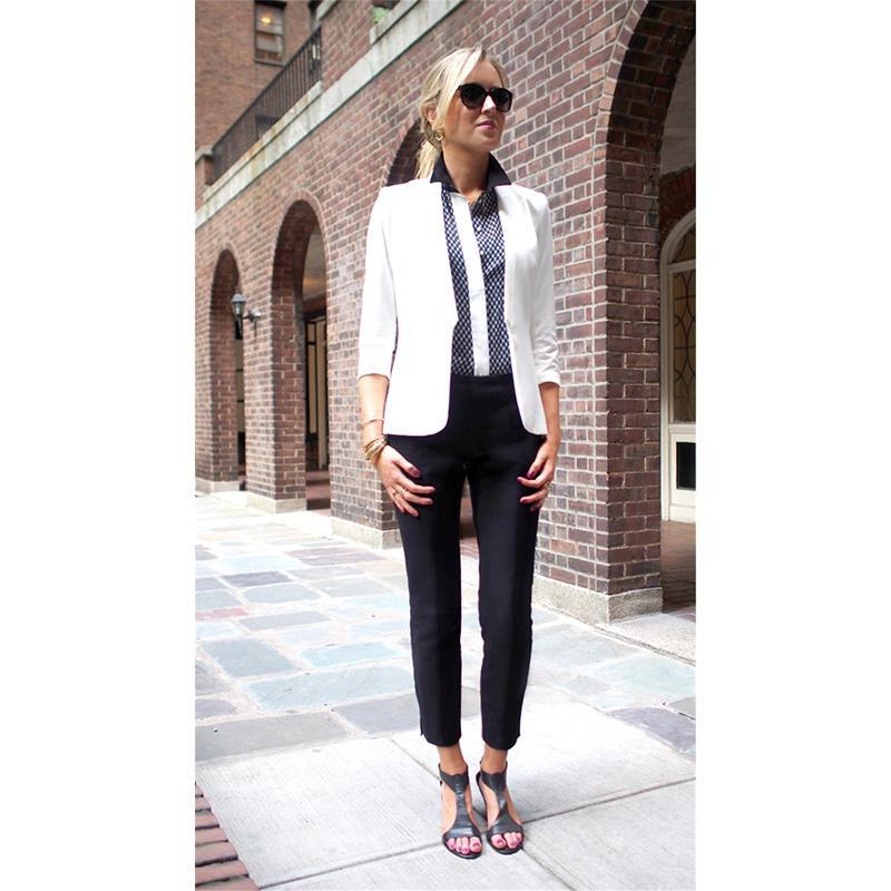 Pantalones De Negocios Compre Negros Para Trajes Chaqueta Blanca SUVGqpzM