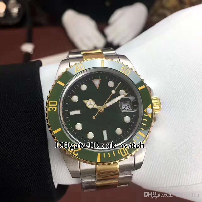 Alta qualidade 40mm mostrador verde Cerâmica Bezel 116610LV 116610 relógio dos homens automáticos Asian 2813 movimento Gents vestido relógios mão de aço