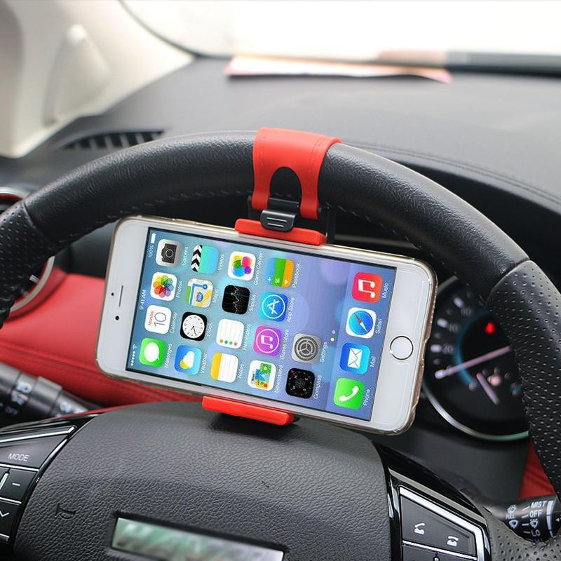 Universal Car Phone Holder Stand Steering Wheel Bike Clip Mount Rubber Band  Holder For iPhone Samsung xiaomi Huawei Android