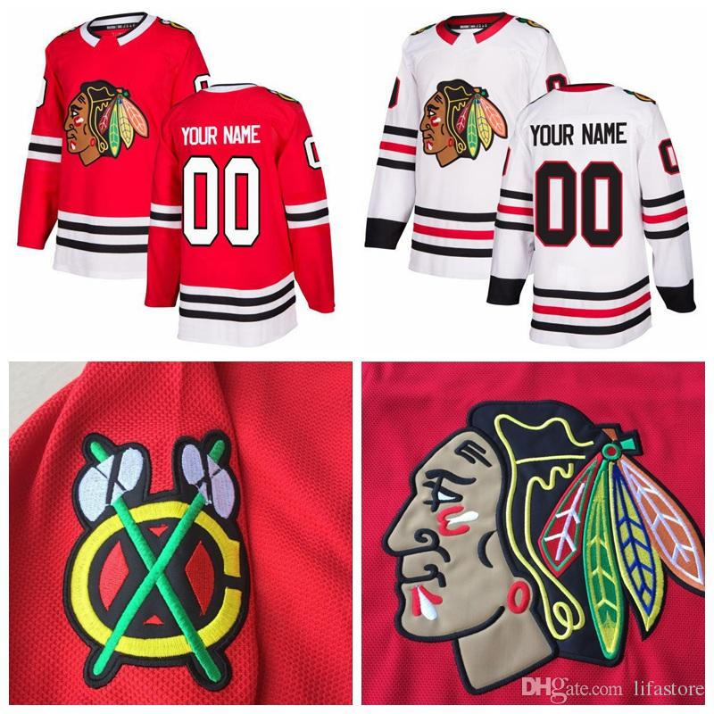 ba61aba13 2017-2018 New AD Custom Chicago Blackhawks Red White Any Name Any ...