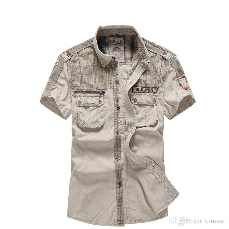 2021 Mens Shirts Short Sleeve Casual Button Down Shirt Pockets Cotton  Summer Tops Clothing 2018 Good Quality M L XL XXL Khaki Grey Army Green  From Tomwei, $16.25 | DHgate.Com