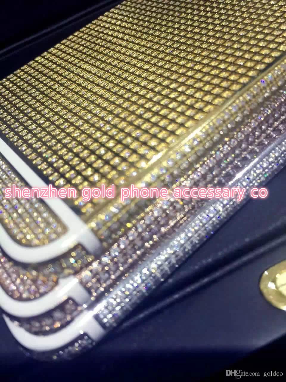 2016 real 24K Gold FULL DIAMOND crystal Plating Battery Back Housing Cover Skin for iPhone 6 4.7 24kt 24ct Limited Edition Gold cases