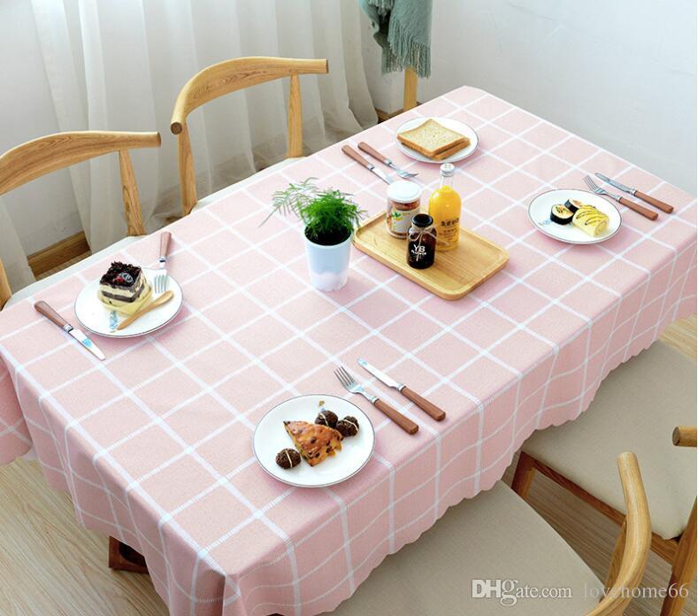 Rectangular grid five colours PVC Tablecloth Vintage Rectangle Dinner Picnic Table Cloth Home Decoration