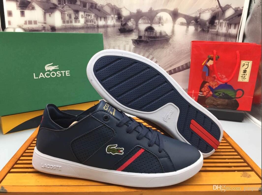 90609553e1 Acheter LACOSTE Chaussures Décontractées Chaussures À Lacets Designer  Confortable Hommes Sneakers Chaussures En Cuir Casual Hommes Sneakers  Extrêmement ...