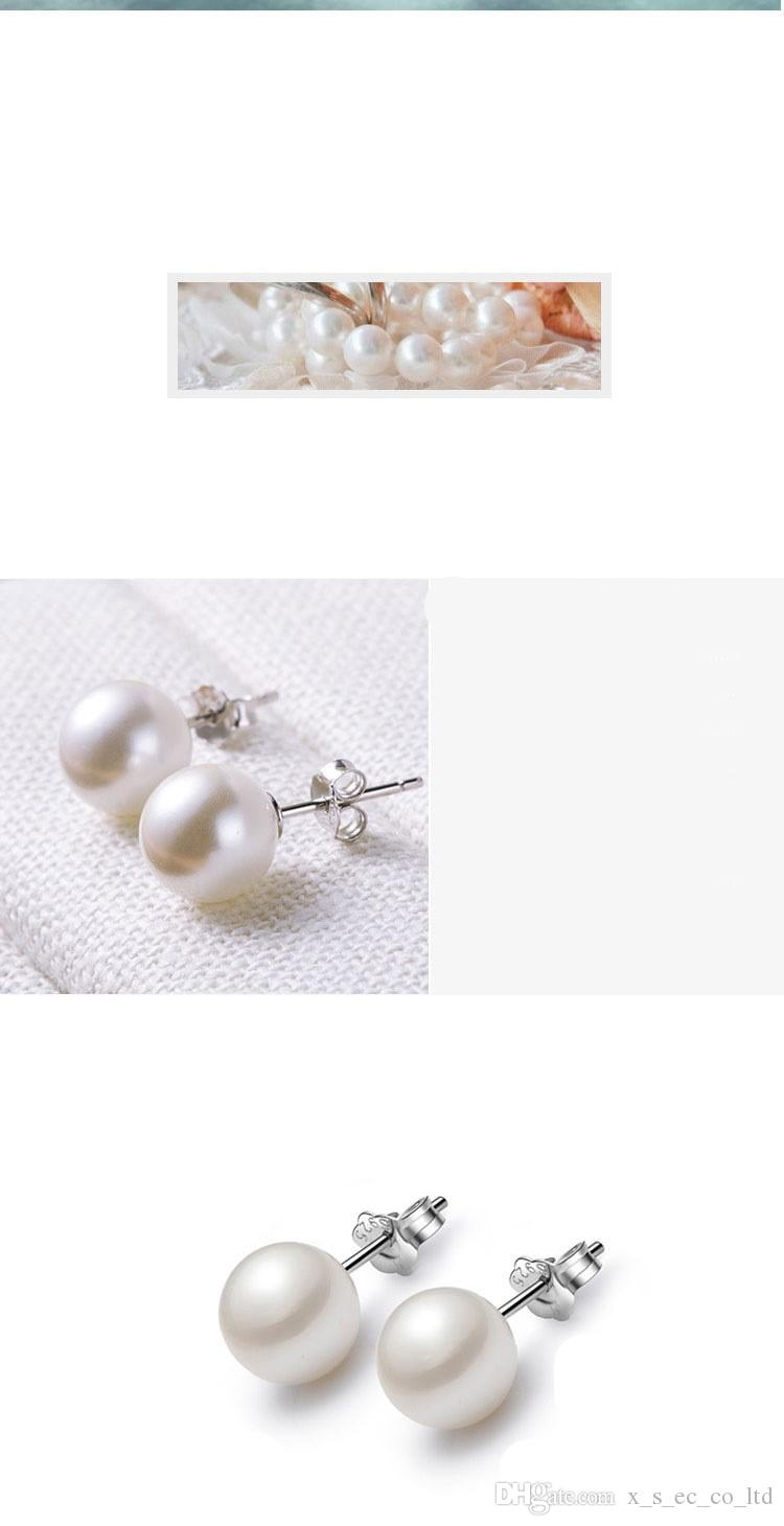 S925 Silver Jewelry Natural Shell Pearl Sterling Silver Stud Earrings Fashion Accessories High - Grade Earring Wholesale