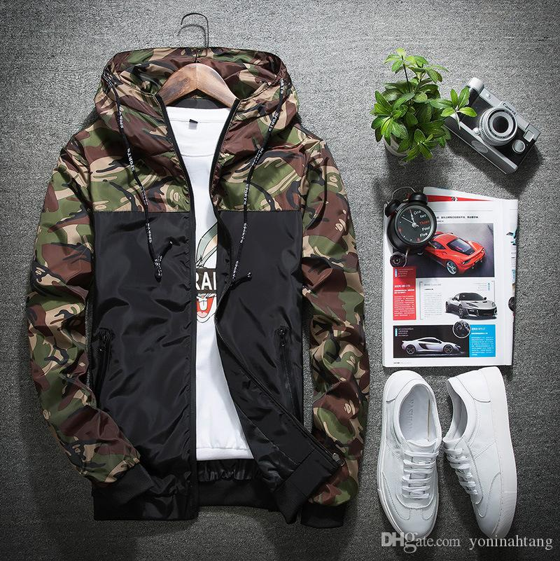 Wholesale Hot Spring Autumn Mens Camouflage Patchwork Hooded Casual Jacket Windbreaker Coats Male Outwear