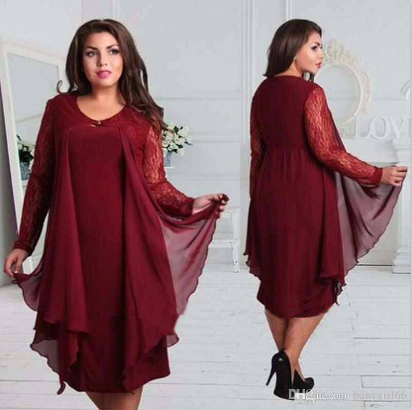 Plus Size Woman Clothe Summer Dress Fat Women Round Neckline Long Sleeve  Chiffon Red Dress Casual Dress Summer Lace Dress Black Women Clothing From  ... c3e68f1fe7b4